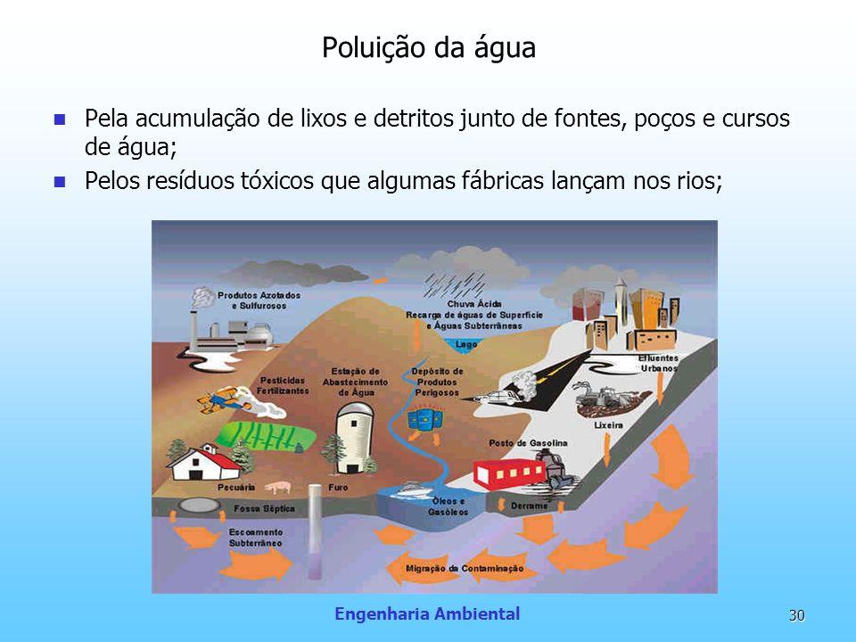 Engenharia Ambiental 30 Poluição da água Pela acumulação de lixos e detritos junto de fontes, poços e cursos de água; Pelos resíduos tóxicos que algum