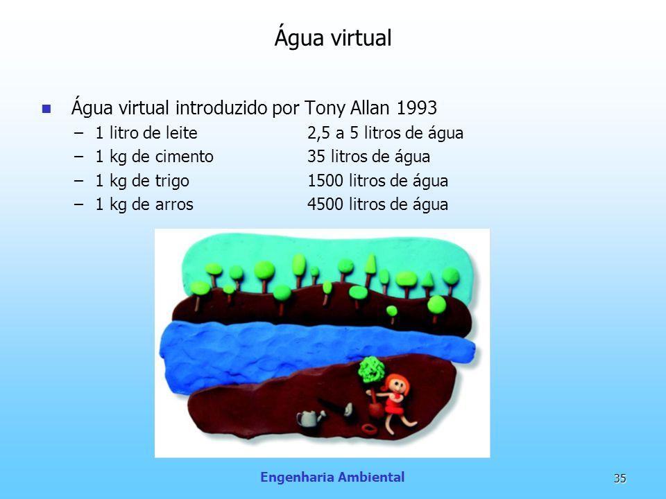 Engenharia Ambiental 35 Água virtual Água virtual introduzido por Tony Allan 1993 –1 litro de leite 2,5 a 5 litros de água –1 kg de cimento35 litros d