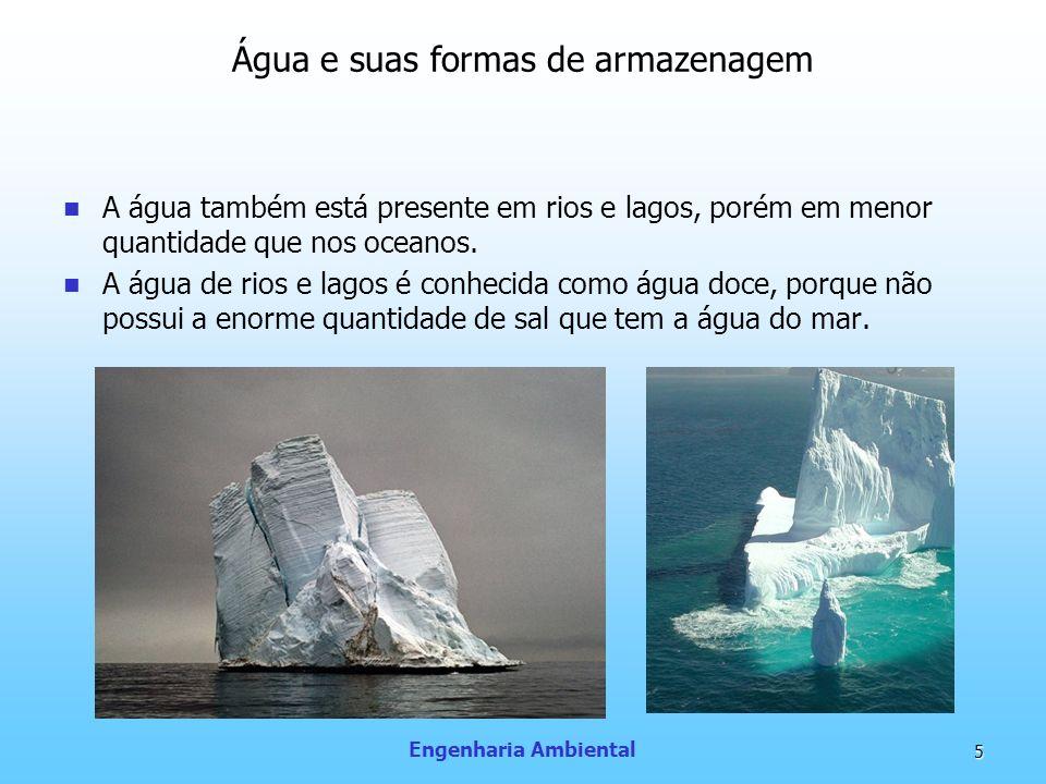 Engenharia Ambiental 5 Água e suas formas de armazenagem A água também está presente em rios e lagos, porém em menor quantidade que nos oceanos. A águ