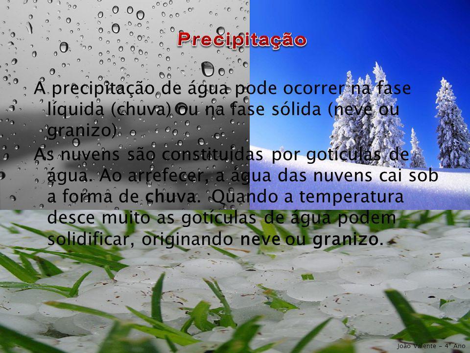 A precipitação de água pode ocorrer na fase líquida (chuva) ou na fase sólida (neve ou granizo) As nuvens são constituídas por gotículas de água. Ao a