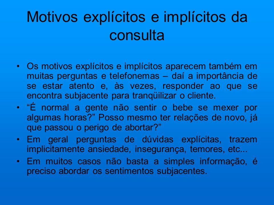 Motivos explícitos e implícitos da consulta Às vezes, as queixas são vagas e imprecisas.