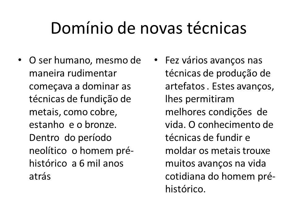 Domínio de novas técnicas O ser humano, mesmo de maneira rudimentar começava a dominar as técnicas de fundição de metais, como cobre, estanho e o bron