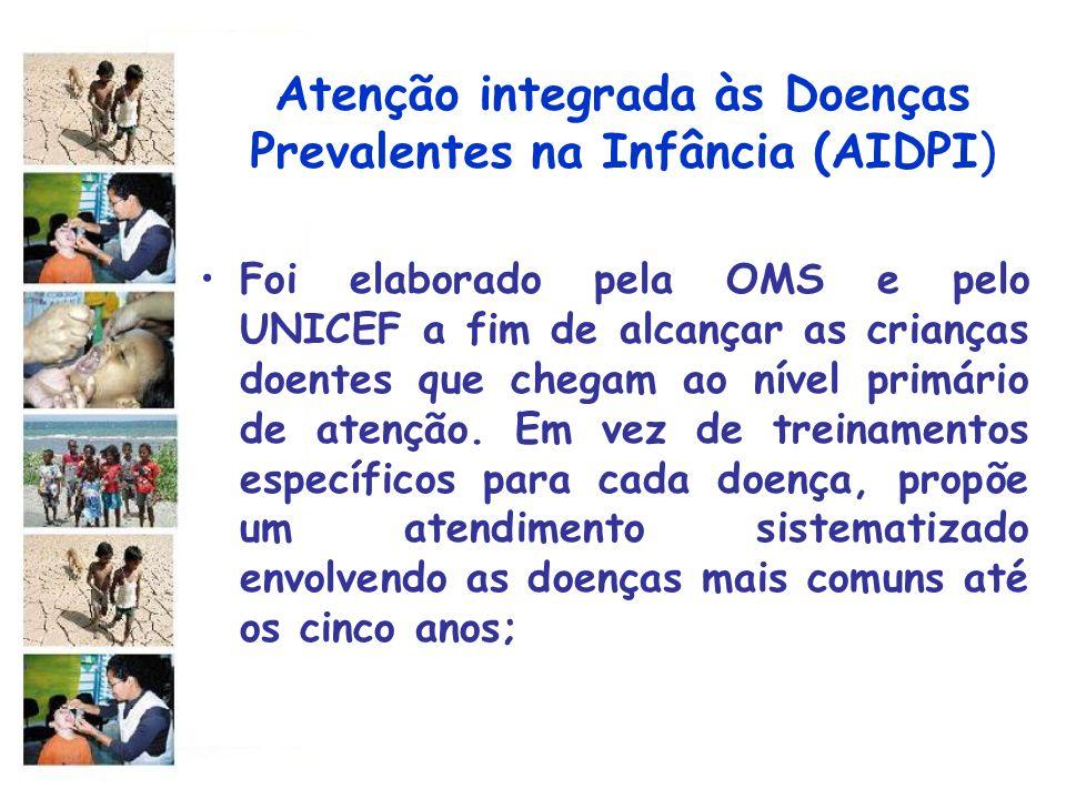 Atenção integrada às Doenças Prevalentes na Infância (AIDPI) Foi elaborado pela OMS e pelo UNICEF a fim de alcançar as crianças doentes que chegam ao