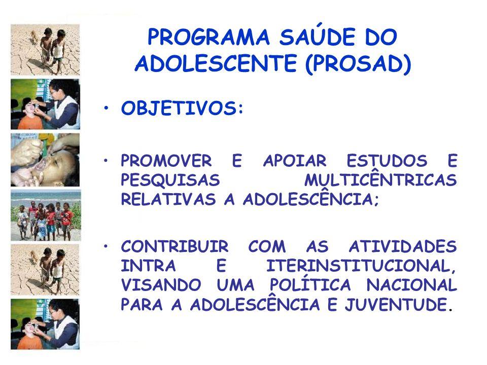 PROGRAMA SAÚDE DO ADOLESCENTE (PROSAD) OBJETIVOS: PROMOVER E APOIAR ESTUDOS E PESQUISAS MULTICÊNTRICAS RELATIVAS A ADOLESCÊNCIA; CONTRIBUIR COM AS ATI