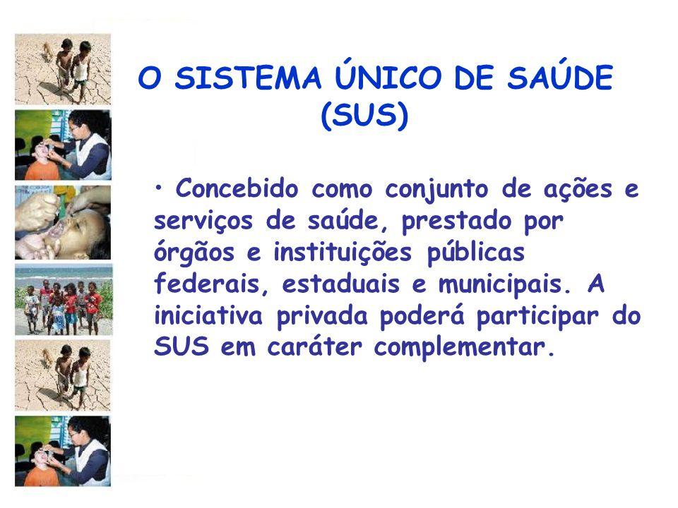 O SISTEMA ÚNICO DE SAÚDE (SUS) Concebido como conjunto de ações e serviços de saúde, prestado por órgãos e instituições públicas federais, estaduais e