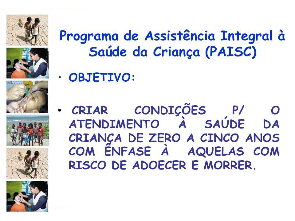 Programa de Assistência Integral à Saúde da Criança (PAISC) DIRETRIZES : UTILIZAR O ACOMPANHAMENTO DO CRESCIMENTO E DESENVOLVIMENTO COMO METODOLOGIA PARA ORGANIZAÇÃO DA ASSISTÊNCIA À CRIANÇA; PROMOVER O ALEITAMENTO MATERNO E ORIENTAR A ALIMENTAÇÃO NO PRIMEIRO ANO DE VIDA;