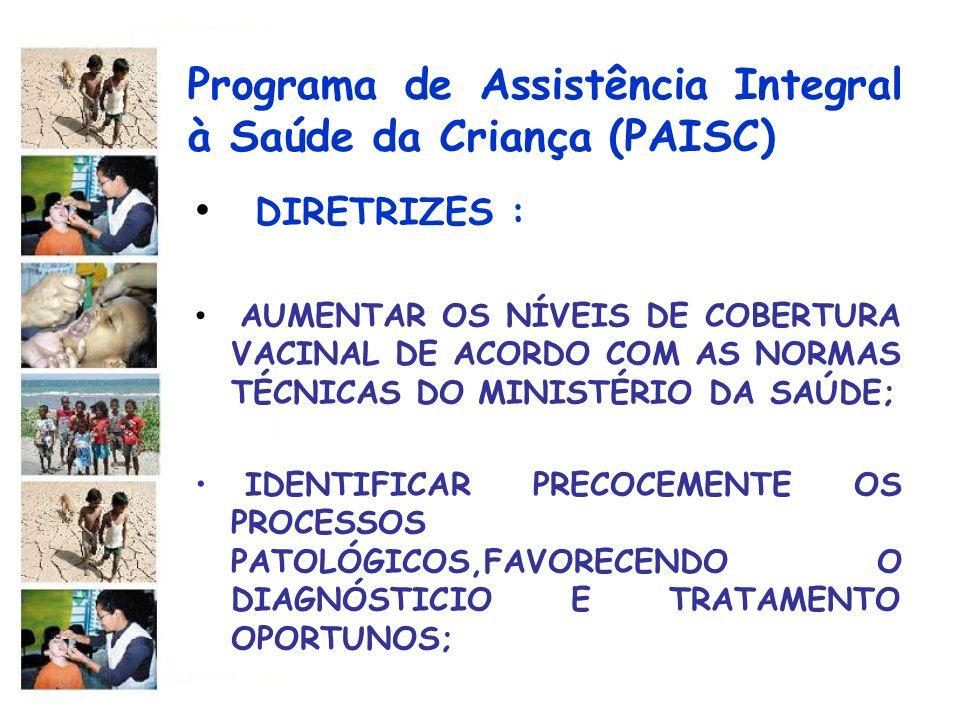 Programa de Assistência Integral à Saúde da Criança (PAISC) DIRETRIZES : AUMENTAR OS NÍVEIS DE COBERTURA VACINAL DE ACORDO COM AS NORMAS TÉCNICAS DO M
