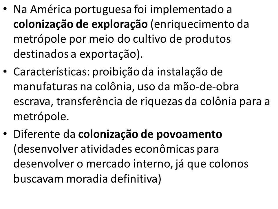 Na América portuguesa foi implementado a colonização de exploração (enriquecimento da metrópole por meio do cultivo de produtos destinados a exportaçã