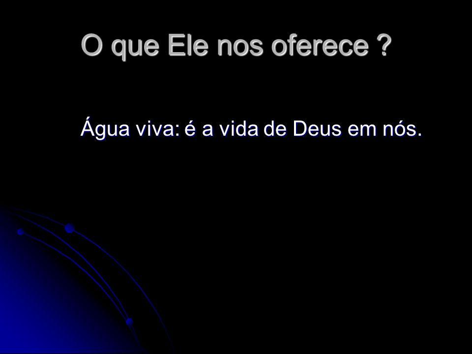 O que Ele nos oferece ? Água viva: é a vida de Deus em nós. Água viva: é a vida de Deus em nós.