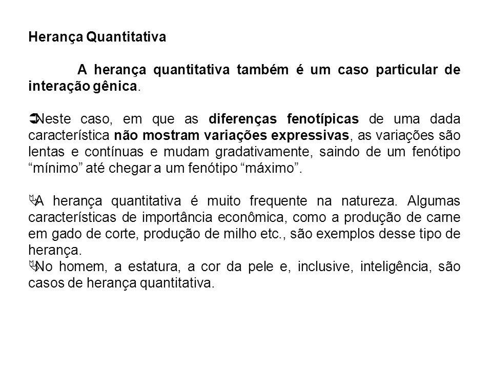 Herança Quantitativa A herança quantitativa também é um caso particular de interação gênica. Neste caso, em que as diferenças fenotípicas de uma dada