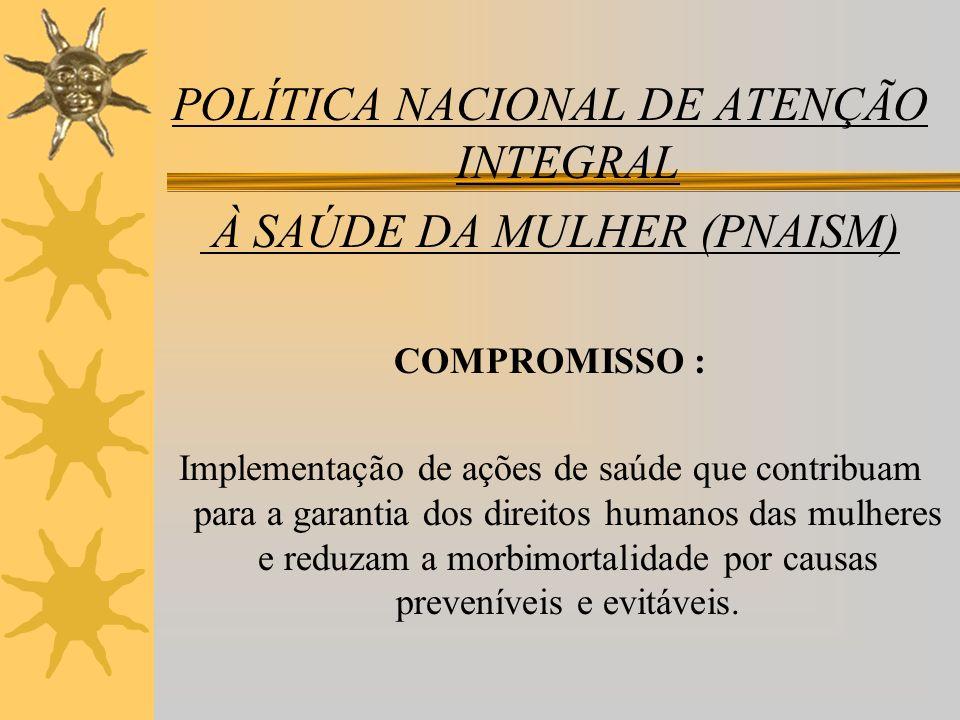 POLÍTICA NACIONAL DE ATENÇÃO INTEGRAL À SAÚDE DA MULHER (PNAISM) COMPROMISSO : Implementação de ações de saúde que contribuam para a garantia dos dire