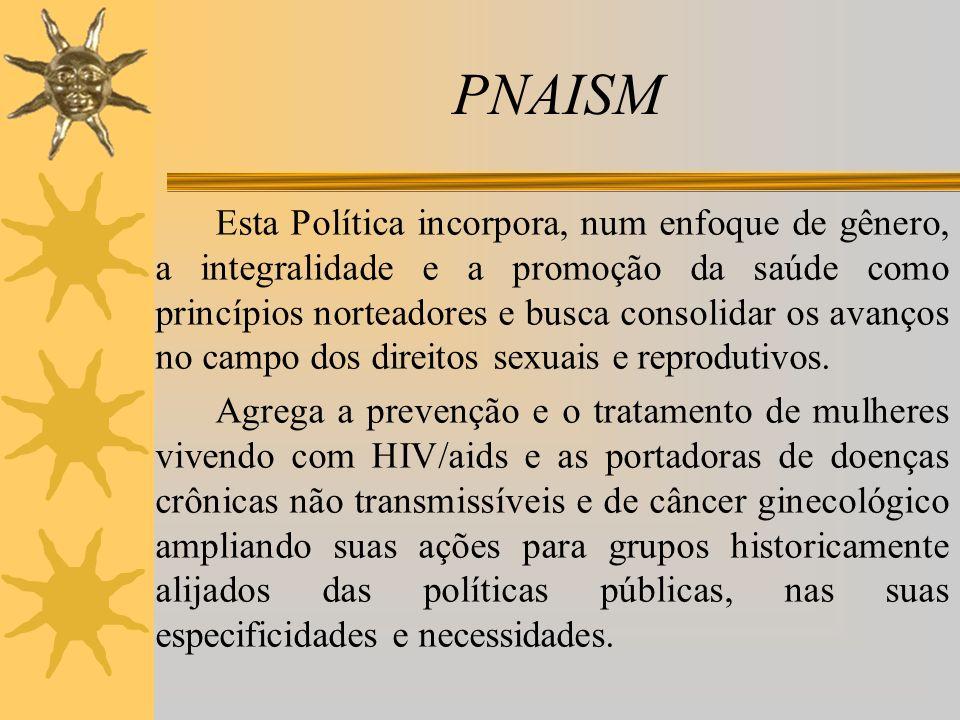 PNAISM Esta Política incorpora, num enfoque de gênero, a integralidade e a promoção da saúde como princípios norteadores e busca consolidar os avanços