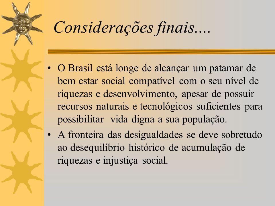 Considerações finais.... O Brasil está longe de alcançar um patamar de bem estar social compatível com o seu nível de riquezas e desenvolvimento, apes