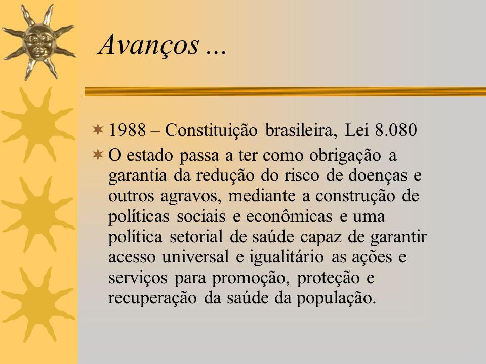 Avanços... 1988 – Constituição brasileira, Lei 8.080 O estado passa a ter como obrigação a garantia da redução do risco de doenças e outros agravos, m