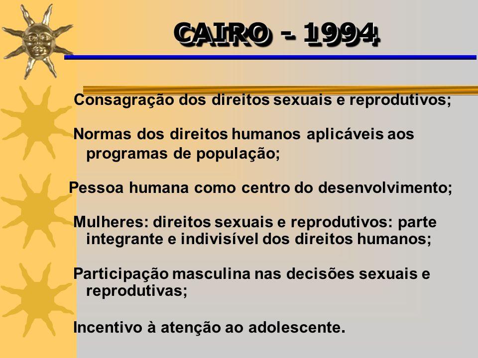 Consagração dos direitos sexuais e reprodutivos; Normas dos direitos humanos aplicáveis aos programas de população; Pessoa humana como centro do desen