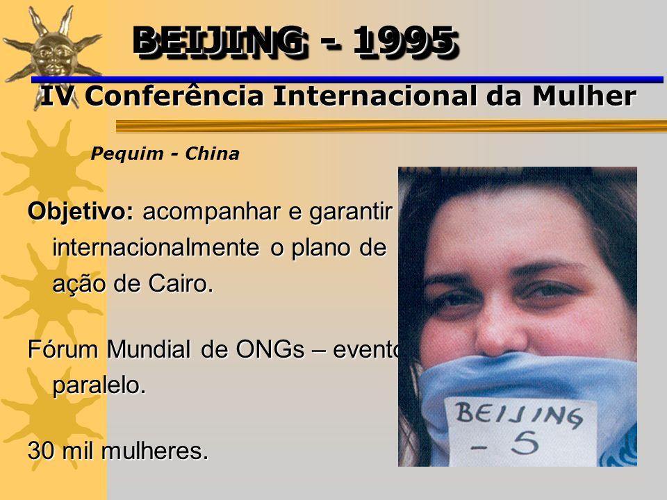 Objetivo: acompanhar e garantir internacionalmente o plano de ação de Cairo. Fórum Mundial de ONGs – evento paralelo. 30 mil mulheres. IV Conferência