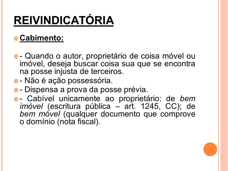 REIVINDICATÓRIA Base Legal: artigos 1228 e ss do CC.