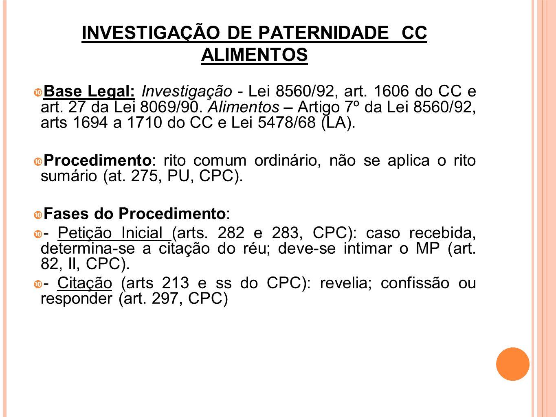 INVESTIGAÇÃO DE PATERNIDADE CC ALIMENTOS Fases do Procedimento: - Resposta: contestação (art.300, CPC); reconvenção (art.