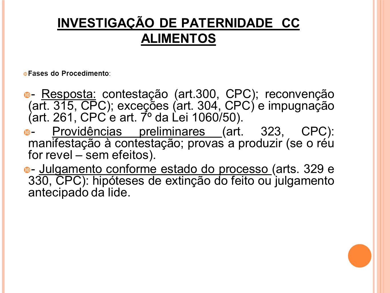 INVESTIGAÇÃO DE PATERNIDADE CC ALIMENTOS Fases do Procedimento: - Saneamento do feito (Art.