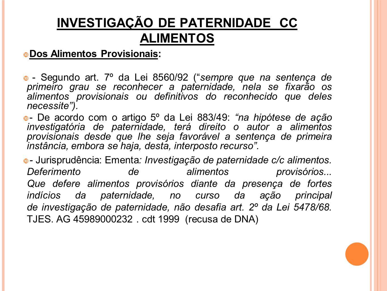 INVESTIGAÇÃO DE PATERNIDADE CC ALIMENTOS Foro Competente: foro do domicílio do autor (art.
