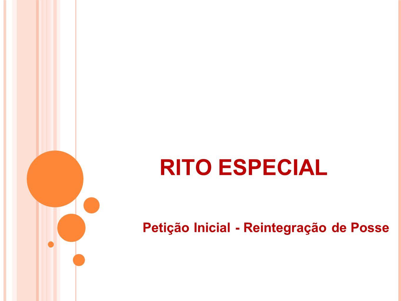 RITO ESPECIAL Petição Inicial - Reintegração de Posse