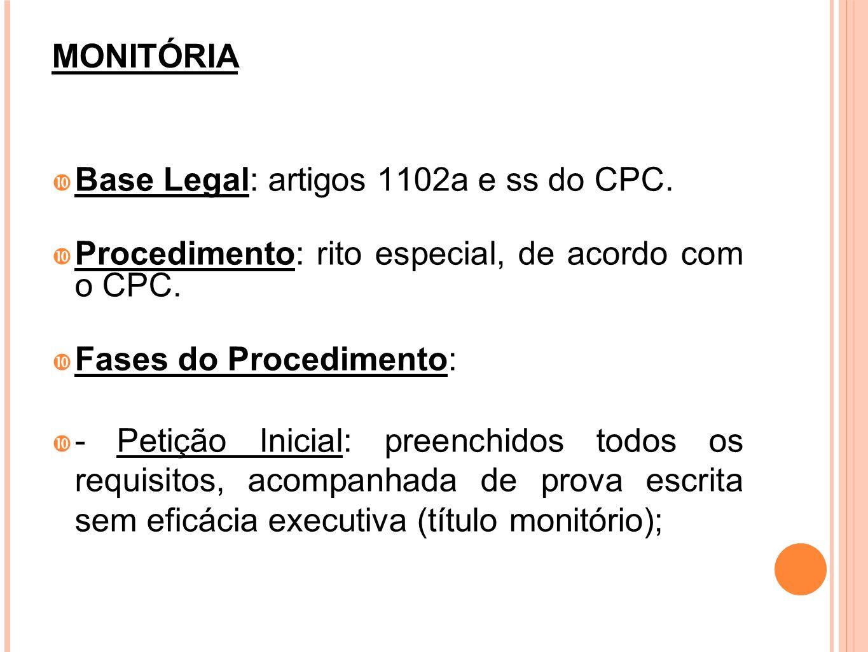 MONITÓRIA Base Legal: artigos 1102a e ss do CPC. Procedimento: rito especial, de acordo com o CPC. Fases do Procedimento: - Petição Inicial: preenchid
