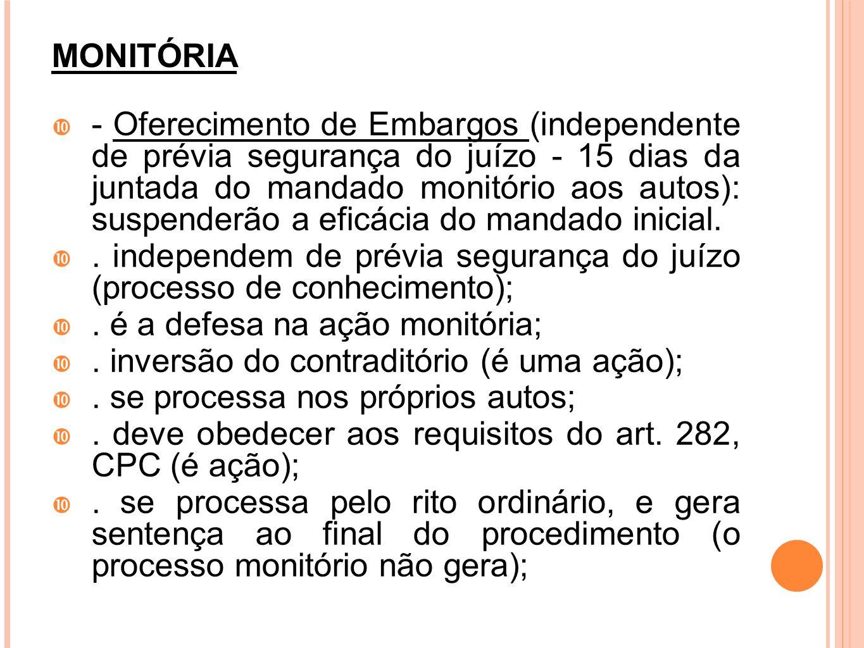 MONITÓRIA - Oferecimento de Embargos (independente de prévia segurança do juízo - 15 dias da juntada do mandado monitório aos autos): suspenderão a ef
