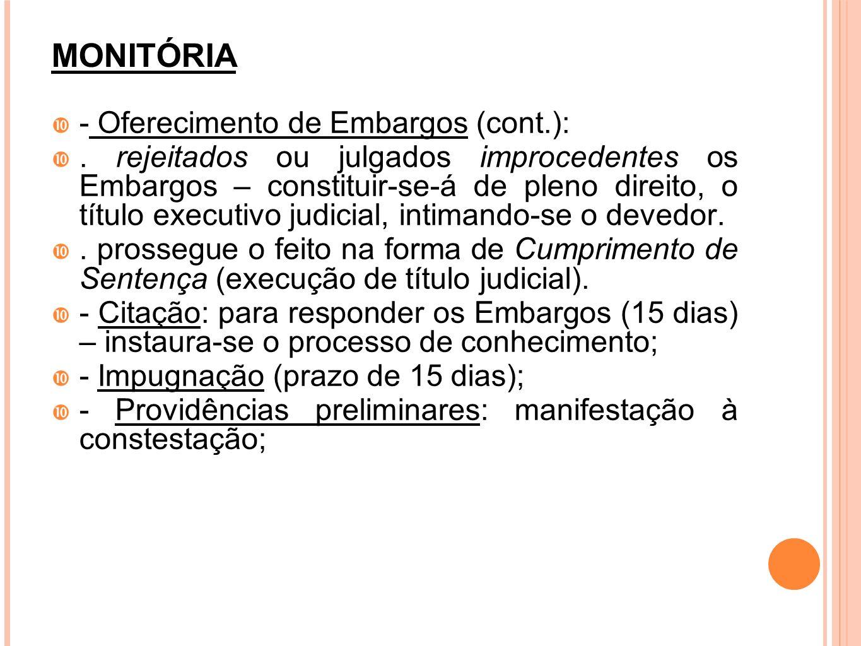 MONITÓRIA - Oferecimento de Embargos (cont.):. rejeitados ou julgados improcedentes os Embargos – constituir-se-á de pleno direito, o título executivo