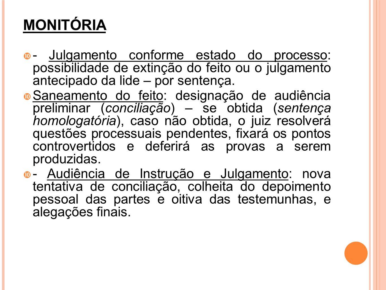 MONITÓRIA - Julgamento conforme estado do processo: possibilidade de extinção do feito ou o julgamento antecipado da lide – por sentença. Saneamento d
