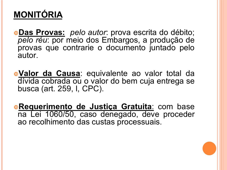 MONITÓRIA Das Provas: pelo autor: prova escrita do débito; pelo réu: por meio dos Embargos, a produção de provas que contrarie o documento juntado pel