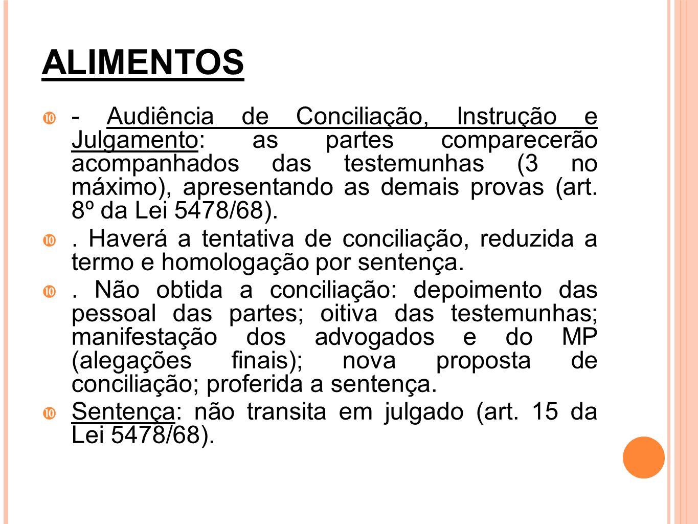 ALIMENTOS - Audiência de Conciliação, Instrução e Julgamento: as partes comparecerão acompanhados das testemunhas (3 no máximo), apresentando as demai