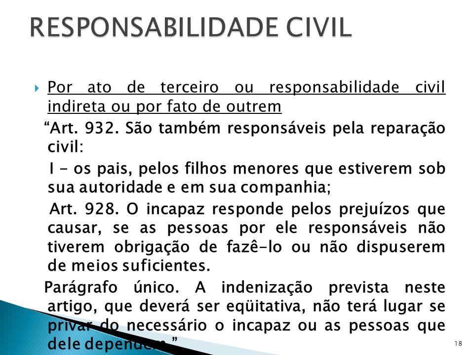Por ato de terceiro ou responsabilidade civil indireta ou por fato de outrem Art. 932. São também responsáveis pela reparação civil: I - os pais, pelo