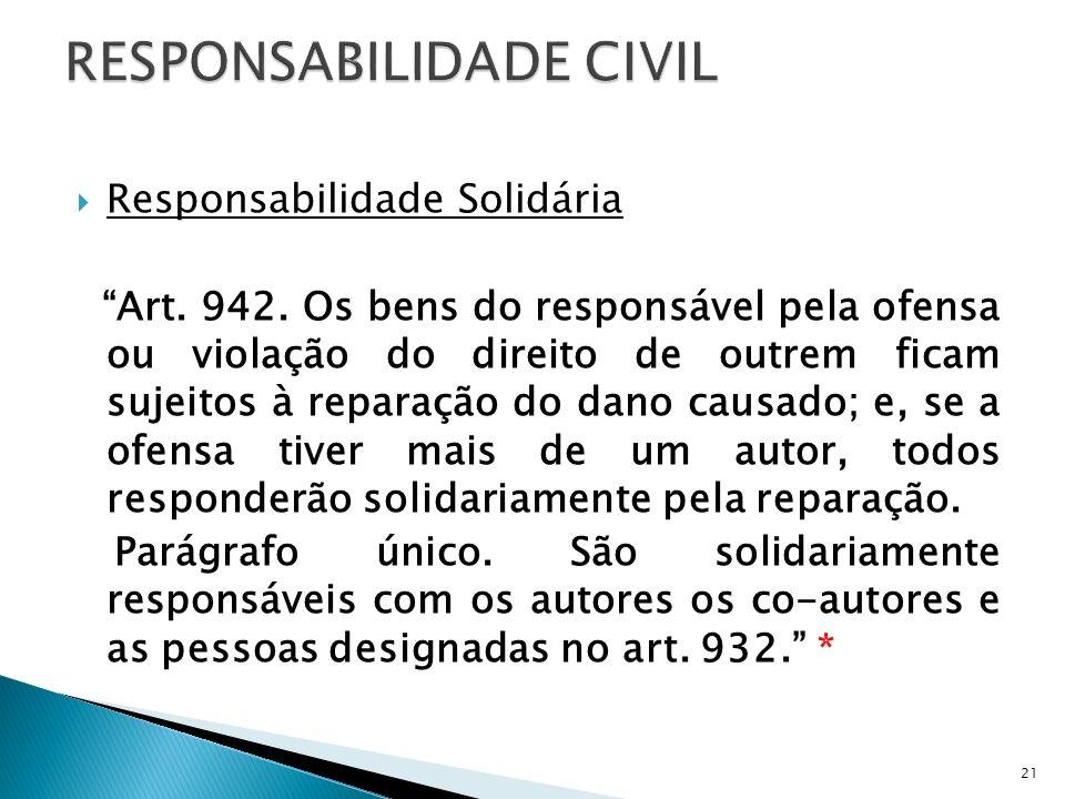 Responsabilidade Solidária Art. 942. Os bens do responsável pela ofensa ou violação do direito de outrem ficam sujeitos à reparação do dano causado; e
