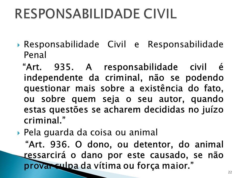 Responsabilidade Civil e Responsabilidade Penal Art. 935. A responsabilidade civil é independente da criminal, não se podendo questionar mais sobre a