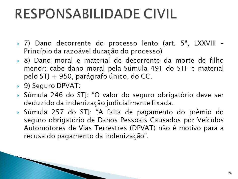 7) Dano decorrente do processo lento (art. 5ª, LXXVIII – Princípio da razoável duração do processo) 8) Dano moral e material de decorrente da morte de