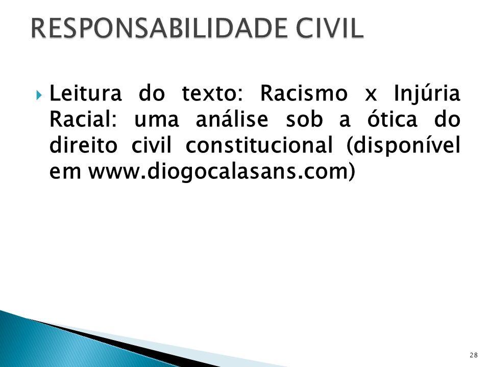 Leitura do texto: Racismo x Injúria Racial: uma análise sob a ótica do direito civil constitucional (disponível em www.diogocalasans.com) 28