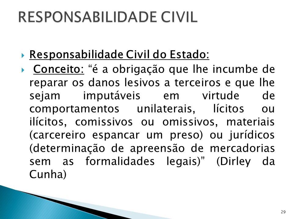Responsabilidade Civil do Estado: Conceito: é a obrigação que lhe incumbe de reparar os danos lesivos a terceiros e que lhe sejam imputáveis em virtud