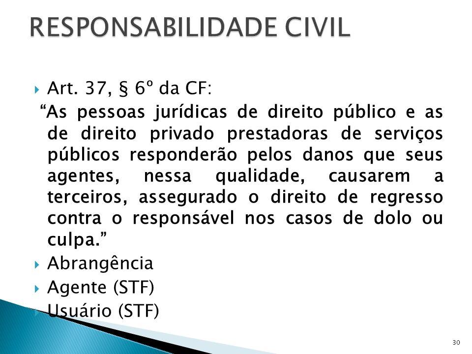 Art. 37, § 6º da CF: As pessoas jurídicas de direito público e as de direito privado prestadoras de serviços públicos responderão pelos danos que seus
