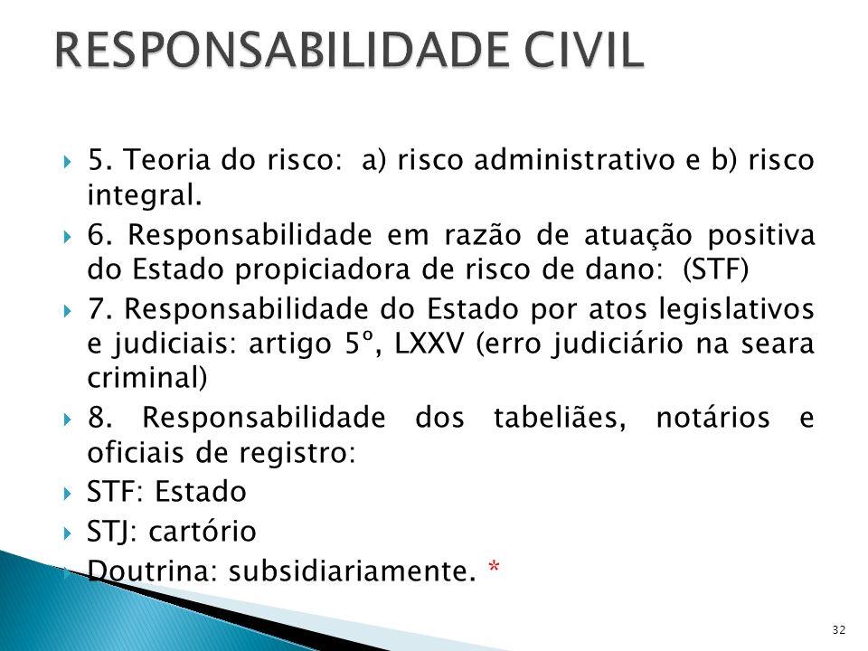 5. Teoria do risco: a) risco administrativo e b) risco integral. 6. Responsabilidade em razão de atuação positiva do Estado propiciadora de risco de d