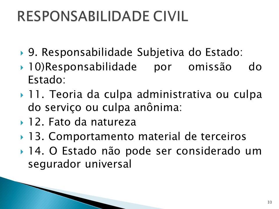 9. Responsabilidade Subjetiva do Estado: 10)Responsabilidade por omissão do Estado: 11. Teoria da culpa administrativa ou culpa do serviço ou culpa an