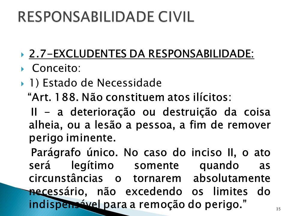 2.7-EXCLUDENTES DA RESPONSABILIDADE: Conceito: 1) Estado de Necessidade Art. 188. Não constituem atos ilícitos: II - a deterioração ou destruição da c