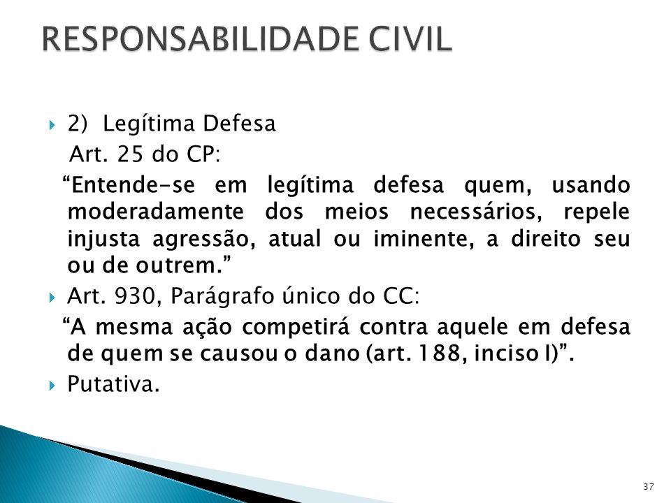 2) Legítima Defesa Art. 25 do CP: Entende-se em legítima defesa quem, usando moderadamente dos meios necessários, repele injusta agressão, atual ou im
