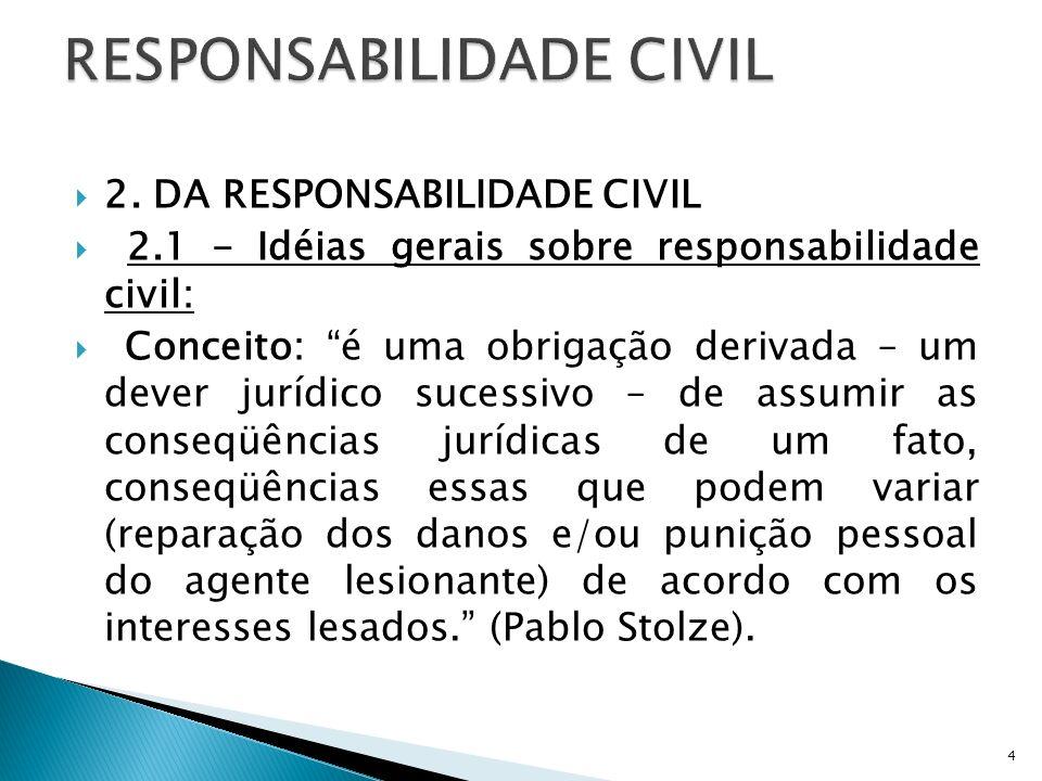 2. DA RESPONSABILIDADE CIVIL 2.1 - Idéias gerais sobre responsabilidade civil: Conceito: é uma obrigação derivada – um dever jurídico sucessivo – de a