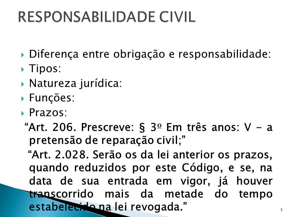 Diferença entre obrigação e responsabilidade: Tipos: Natureza jurídica: Funções: Prazos: Art. 206. Prescreve: § 3 o Em três anos: V - a pretensão de r