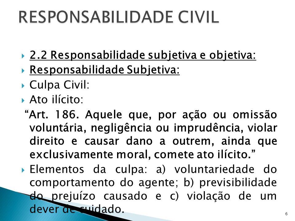 2.2 Responsabilidade subjetiva e objetiva: Responsabilidade Subjetiva: Culpa Civil: Ato ilícito: Art. 186. Aquele que, por ação ou omissão voluntária,