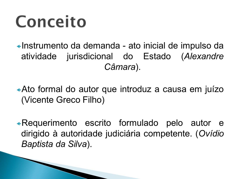 Instrumento da demanda - ato inicial de impulso da atividade jurisdicional do Estado (Alexandre Câmara). Ato formal do autor que introduz a causa em j