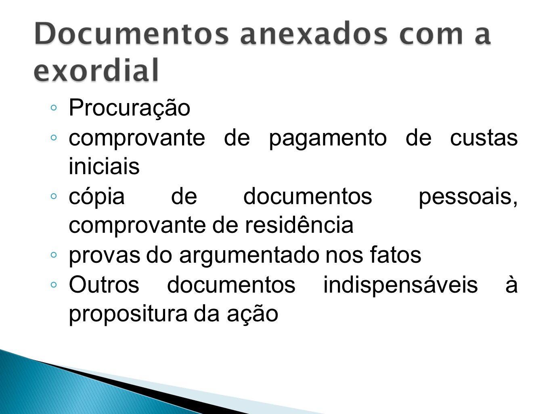 Procuração comprovante de pagamento de custas iniciais cópia de documentos pessoais, comprovante de residência provas do argumentado nos fatos Outros