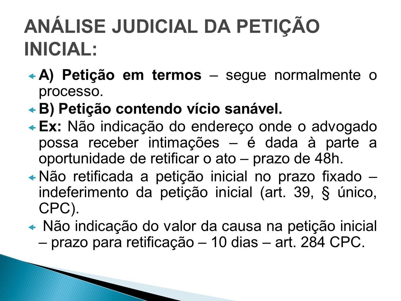 ANÁLISE JUDICIAL DA PETIÇÃO INICIAL: A) Petição em termos – segue normalmente o processo. B) Petição contendo vício sanável. Ex: Não indicação do ende