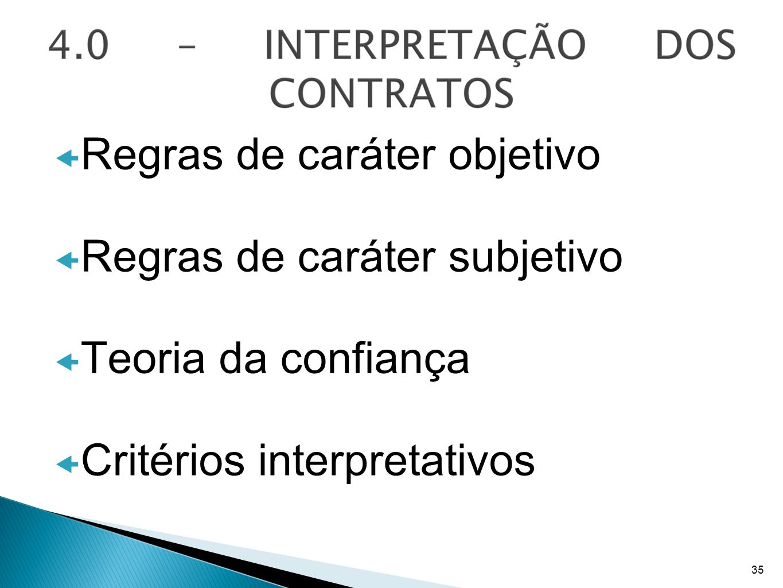 Regras de caráter objetivo Regras de caráter subjetivo Teoria da confiança Critérios interpretativos 35