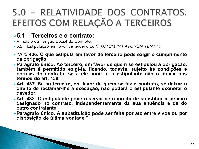 5.1 – Terceiros e o contrato: Princípio da Função Social do Contrato. 5.2 – Estipulação em favor de terceiro ou PACTUM IN FAVOREM TERTII: Art. 436. O